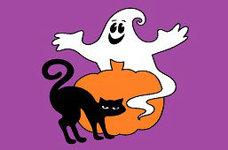 Black cat and ghost