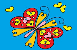 Butterfly with hearts on wings