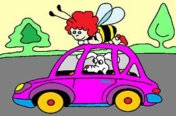 Bee and dog in car