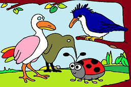 Ladybug and birds