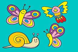Snail, birdie and butterflies