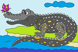 Crocodile with butterfly