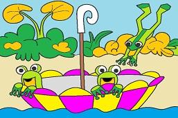 Frogs in umbrella