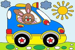 Bunny in new car