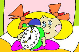 Cathy with alarm clock