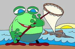 Frog fisherman