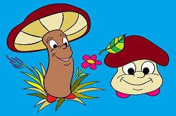 Two cheerful mushrooms