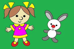 Girl Doll and Bunny