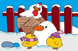 Chickens and snowman