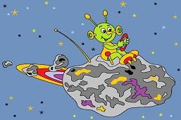 Alien flying on asteroid