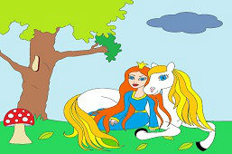 Princess with white horse