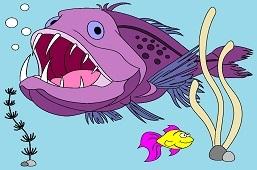 Anglerfish and goldfish