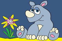 Baby rhino and flower