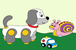 Dog, snail and toy car