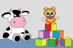 Cow and wooden cubes