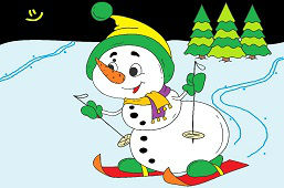 Young snowman skiing