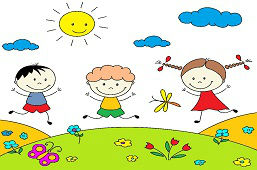 Cheerful children on meadow